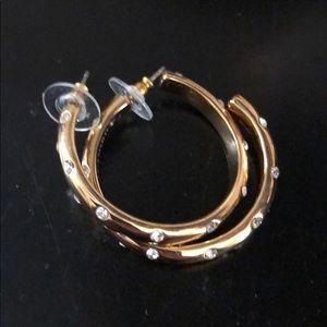 JCrew gold hoop earrings with diamond detail